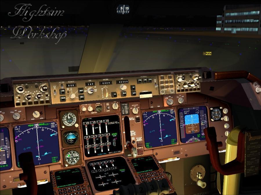Principal de vedere din cabina de pilotaj noapte