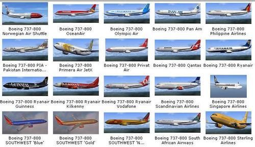 180 Liveries Collection Pob rau B737-800 FSX  &  P3D