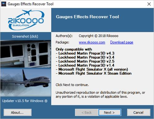 Gauges Effects Recover Tool FSX & P3D & FS9
