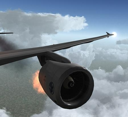 moteur en feu